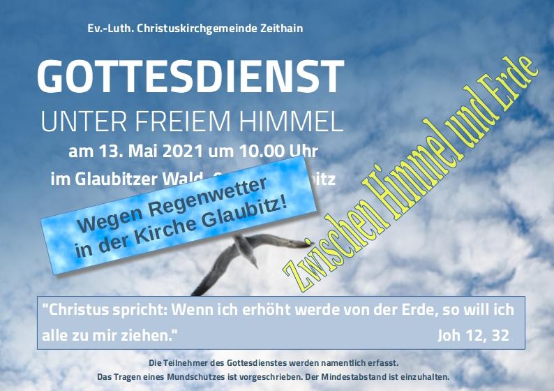Banner Gottesdienst zu Himmelfahrt 2021 in Glaubitz