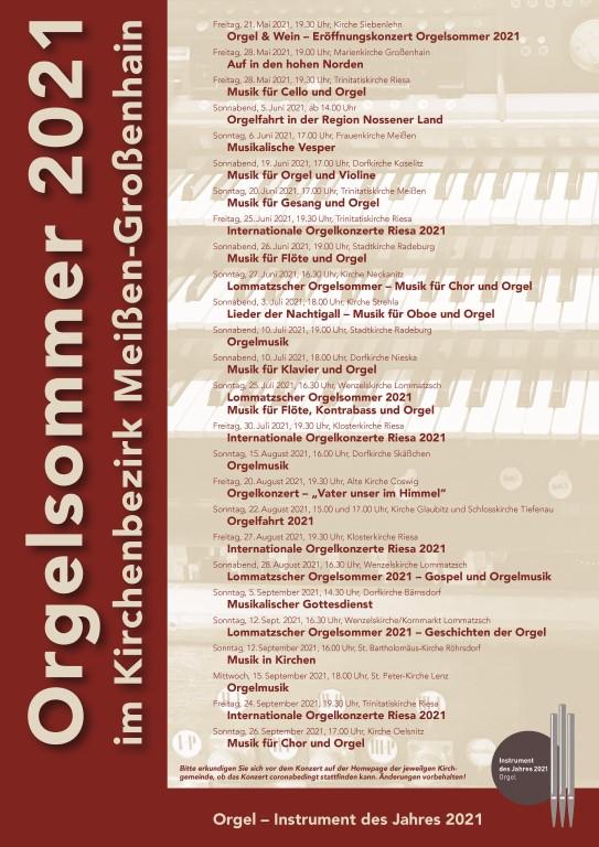 Orgelsommer Plakat 2021